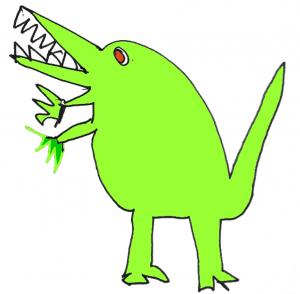 green diinosaur flip