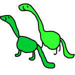 green dinosaur pair flip